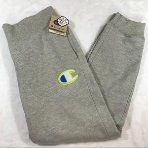 NWT CHAMPION logo grey sweatpants gray green Sz L